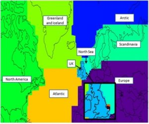Defined regions for the NAME analysis. Local sectors defined as 0.5°E to 2°E and 0.5° from the coast northwards (marine) and 0.5° from the coast southwards (land) are shown in the zoomed in box.