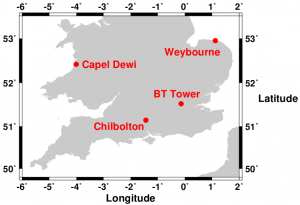 Map showing the location of NCAS's Atmospheric Observatories in southern Britain