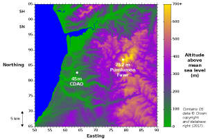 Map of terrain in the vicinity of the CDAO